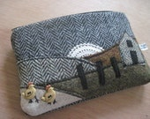 Hens Come Home to Roost - Harris Tweed Collage Cosmetic Purse/textile art/fabric art/mixed media collage