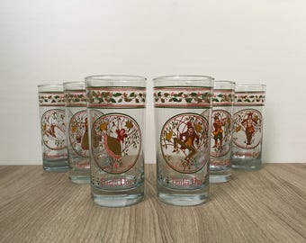 Glass Tumblers - 12 Days of Christmas - Set of 12