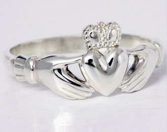 Sterling Silver Claddagh ring, made in Ireland