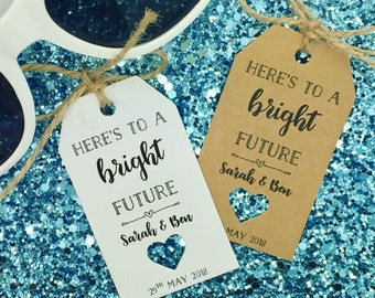"""Sunglasses Favour Gift Tags """"Thank you"""" Rustic Label Kraft"""