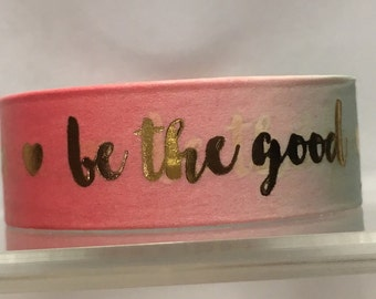 Pink teal with gold lettering washi tape