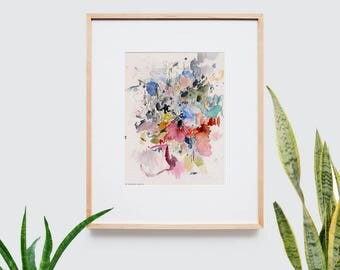 Abstract art composition - Contemporary art - Watercolor Print - Limited edition. Landscape I.