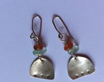 Long silver contemporary earrings. Long dangling earrings modern design earrings