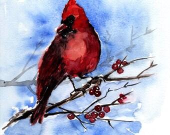 Red cardinal watercolor, bird watercolor original art, bird wall art, bird painting, A4 bird art