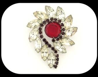 "RARE Vintage Juliana Ruby Red & Clear Navette Rhinestone BROOCH 2 1/4"""
