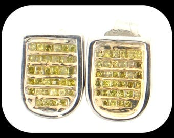 14K White Gold Canary DIAMOND Princess-Cut Invisible-Set Fancy STUD EARRINGS