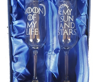 """Game of Thrones Inspired """"My Sun and Stars, Moon of My Life"""" Pair of Champagne Flutes"""