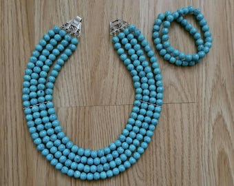 Turquoise necklace and matching bracelet set