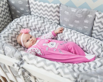 Gray Baby Nest with Lavender Bag,Chevron Babynest for Newborn, Toddler Baby Nest, Cocoon Baby, Travel Baby Bed, Snuggle Nest, Cosy Sleep,