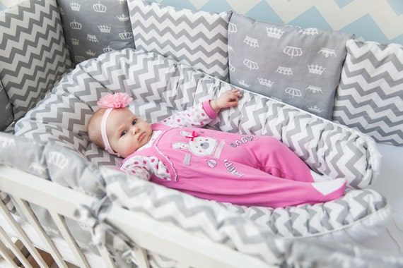Gray Baby Nest with Lavender Bag Double sides Chevron