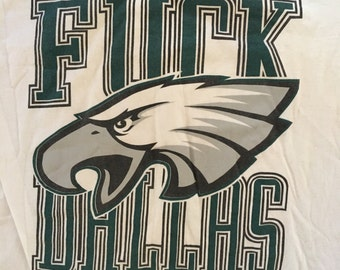 Vintage 90s F*ck Dallas Philadelphia Eagles Tshirt - Vintage Phialdelphia Eagles Bootleg Parking Lot Tshirt - Vintage Tshirt - XL