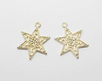 P0635/Anti-Tarnished Matte Gold Plating Over Pewter /Large Lace Star Pendant/18x22mm/2pcs