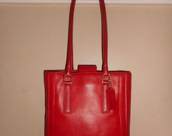 COACH Vintage 10 x 11 x 3.5 Red Leather Legacy Bucket Shoulder/Tote Bag #K0P-9422