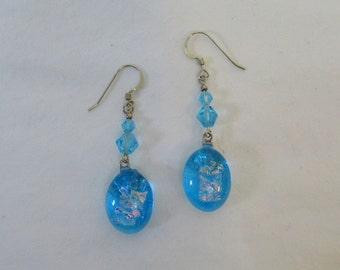 Aqua fused dichroic glass earrings - g0777e04