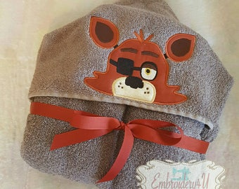 Five Night at Freddy's FOXY Character Hooded Towel Bath Towel Beach Towel Embroidered Towel Personalized Towel