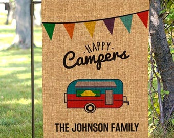 Personalized Happy Camper Garden Flag, Happy Camper Sign, Camping Gifts, Camping Signs, Camp Signs, Camping Gift Ideas, Custom Camp Decor