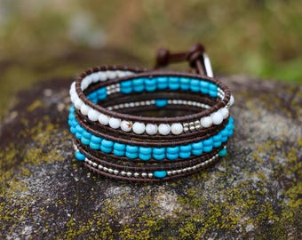 Turquoise, Magnesite, and Sterling Silver Three Wrap Bracelet