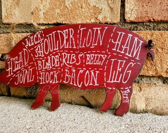 Vintage Wood Pork Cuts sign! Free-handed. Butcher chart. Butcher shop. Pig. Farm. Rustic. Antique. Red.