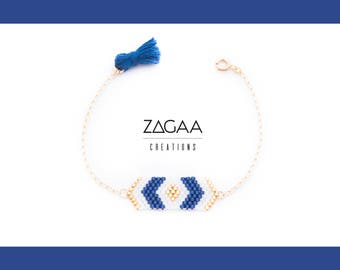 Bracelet feature Blue Navy and gold Miyuki beads and Gold Filled