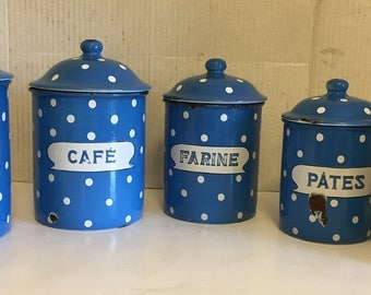Vintage Set of 5 French Blue Polka Dot Enamelware Nesting Canisters