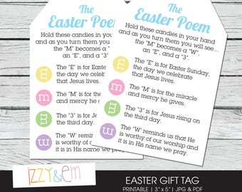 Easter gift tags etsy easter poem easter gift tag printable gift tag kids easter gift gift negle Choice Image