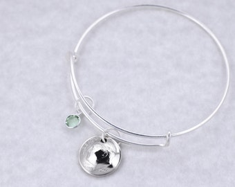16th Birthday Gift - 2001 Dime Coin Birthstone Bangle Bracelet Jewelry Sweet Sixteen Birthday Gift Daughter Birthday Gift Sister