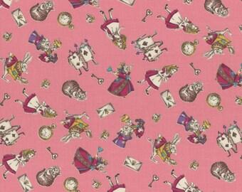 Lecien Japan Girl's Story Alice in Wonderland Cotton Shirting | # 40722L-20 Pink