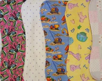 Custom handmade burp cloths - various sizes - absorbent  or waterproof available