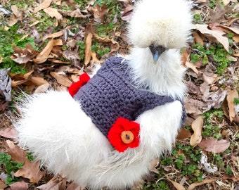 Chicken sweater, gray chicken sweater with red flowers, battery hen jumper, hen saddles