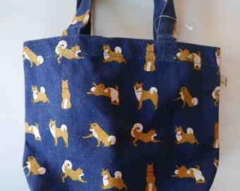 Shiba inu Mini Tote Bag Shibatasan Dog tote Navy