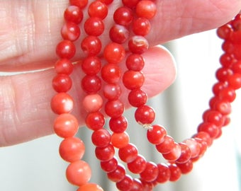 vintage string of CORAL beads RED and PINK ~ 20g ~ ~ inA2519