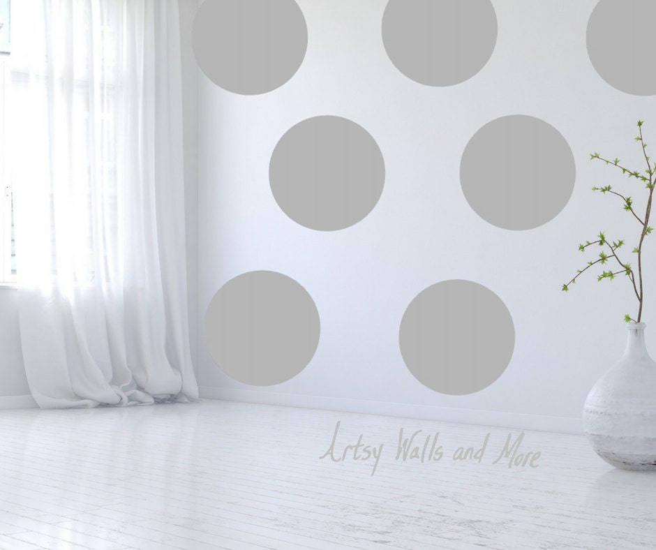 large polka dot vinyl decals stickers polka dot wall small. Black Bedroom Furniture Sets. Home Design Ideas