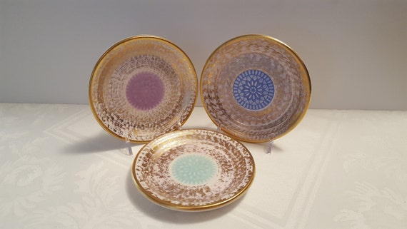 Stangl Antique Gold 5'' Coasters with Center Medallions (3) #4070