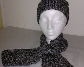 Crocheted Silver Metallic Slouch Hat and Scarf