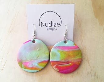 "Handmade statement dangle earrings // gifts for her // ""Hue"""