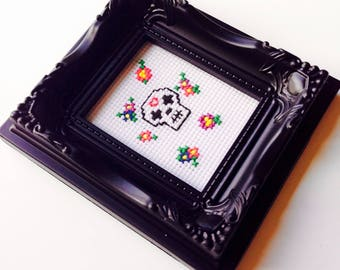 Sale | Sugar Skull | Skull | Retro | Bright | Flowers | Gift | Framed | Cross Stitch
