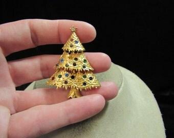 Vintage Christmas Multi Colored Rhinestone Tree Pin