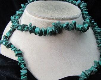 Vintage Long Malachite? Stone Necklace
