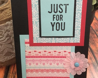 Just Because Handmade Greeting Card, Aqua and Red Card, Stationery Card