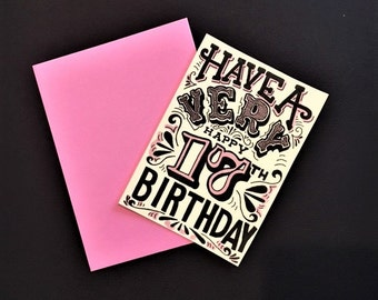 pink black and white hand lettered customized birthday year card