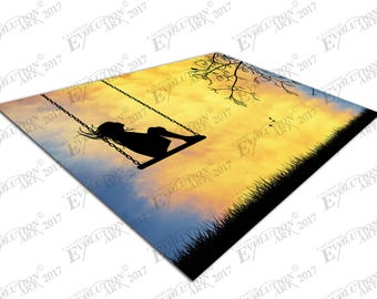 Print on Canvas day dreaming Girl on swing X1484