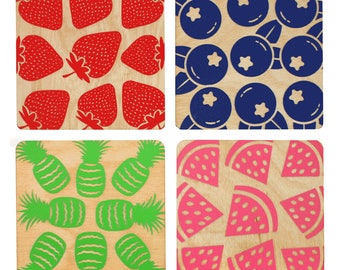 Fruit Coasters | Laser Cut | Made in Maine