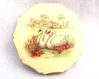 "Kigu Powder Compact, Swans on Lake, Queen Shape, 1978 Gold Tone Metal, Powder Sifter, 3"" x 3"" x 3"" Excellent Condition"