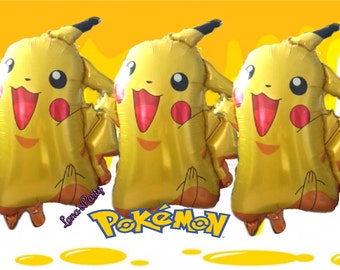 3PC XL Pokemon Pikachu balloons party decoration table cover banner flag cupcake toppers latex foil Charmander Bulbasaur Squirtle