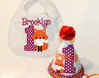 Girl's First Birthday Party Hat and Bib Set - Purple and orange with girl fox.  Includes personalization.