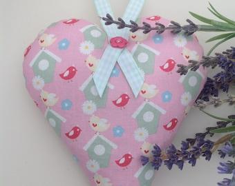 Bird house fabric heart, bird lover gift, bird gifts, lavender heart, lavender bag, lavender sachet, hearts, hanging hearts, gifts for her