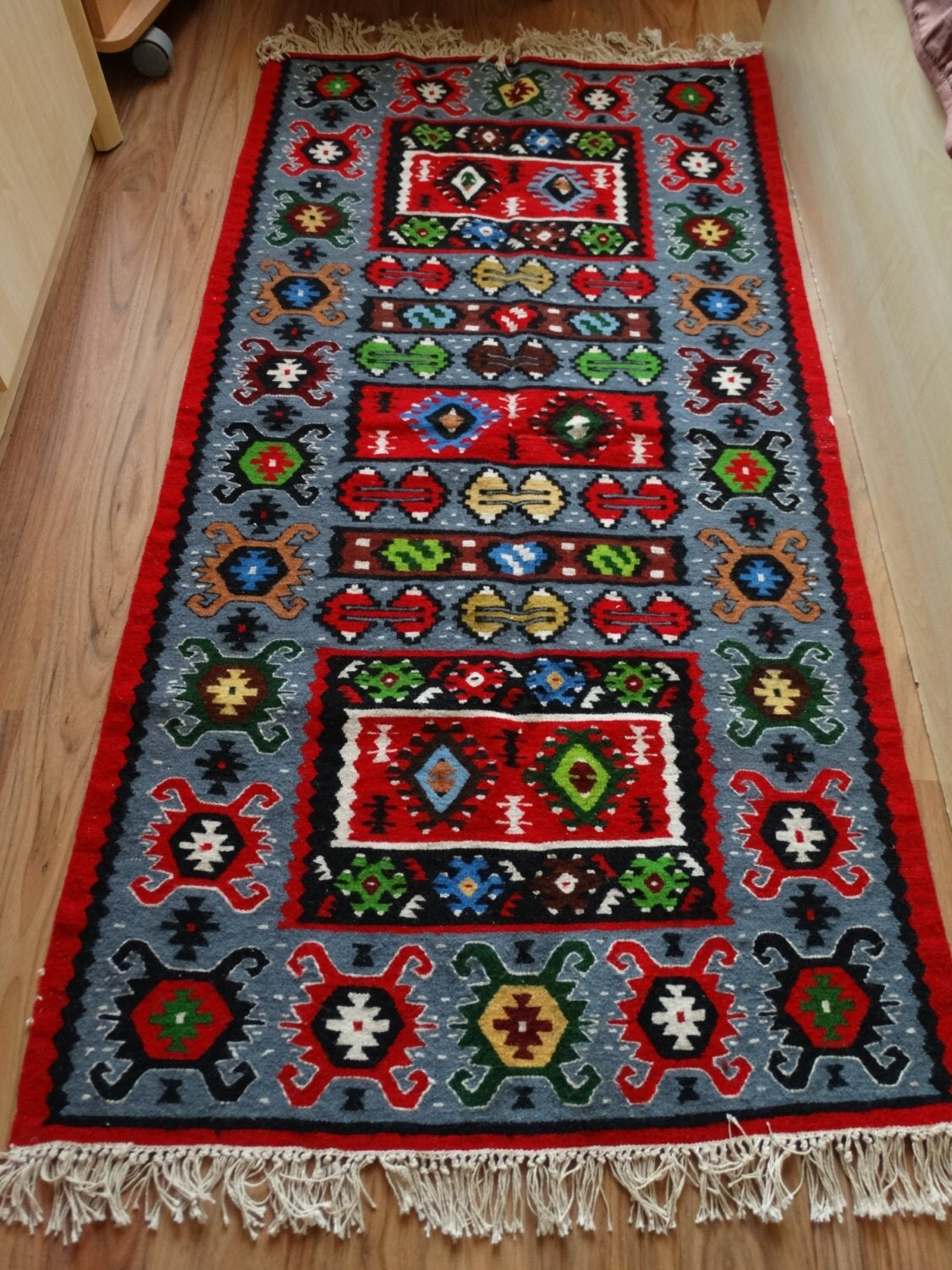 Multi Colored Aztec Rug Bohemian Antique Kilim Rugs Area