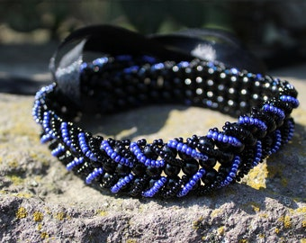 Multifunctional Jewelry Beaded Necklace Choker Wrapped Bracelet Headpiece Summer Boho Versatile Black Blue Braided Beaded Necklace 3 in 1