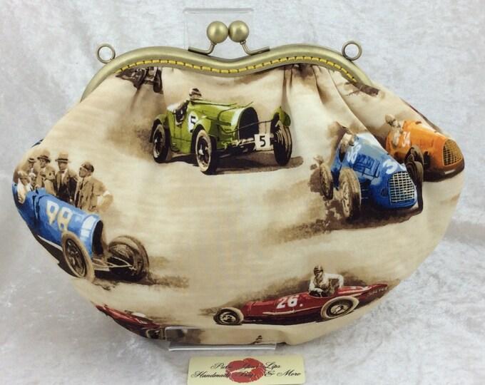 The Grace Classic Cruisers bag Robert Kaufman designed racing car fabric purse handbag clutch handmade in England