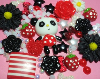 Kawaii Deco Kit - Cute Panda Bear Decoden Kit - Phone Deco - DIY Deco - Kawaii Flatbacks - Cabochons - Decoden Supplies